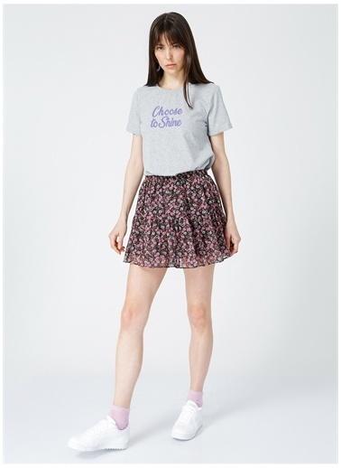 Limon Company Limon Gri Baskılı Kadın T-Shirt Gri